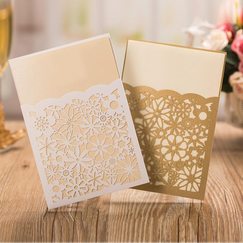 Gold Flower Wedding Invitations Elegant Invitation Cards - Set of 50pcs Picky Bride