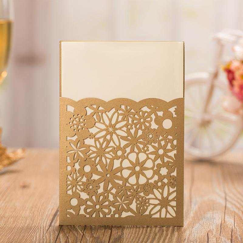 Gold Flower Wedding Invitations Elegant Invitation Cards - Set of 50pcs Picky Bride Blank Gold