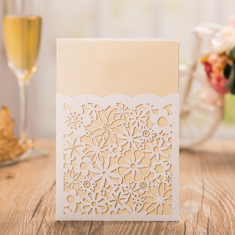 Gold Flower Wedding Invitations Elegant Invitation Cards - Set of 50pcs Picky Bride Blank White