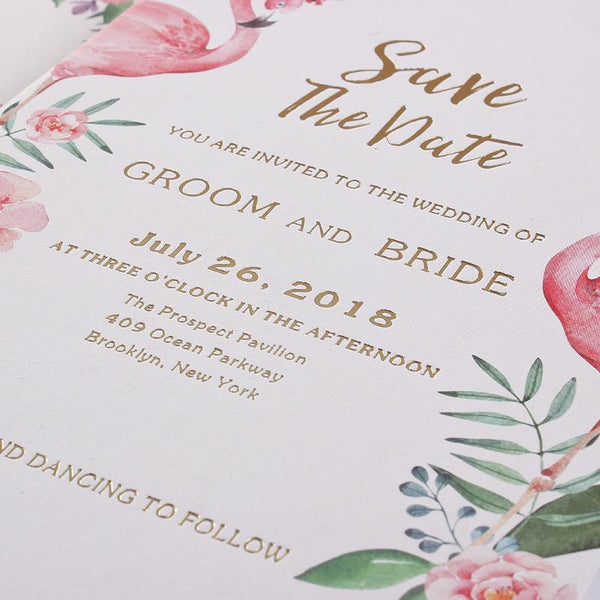 Gold Foil Printing Invitations for Luxury Wedding Theme Swan Invitation With Pink Envelopes Picky Bride