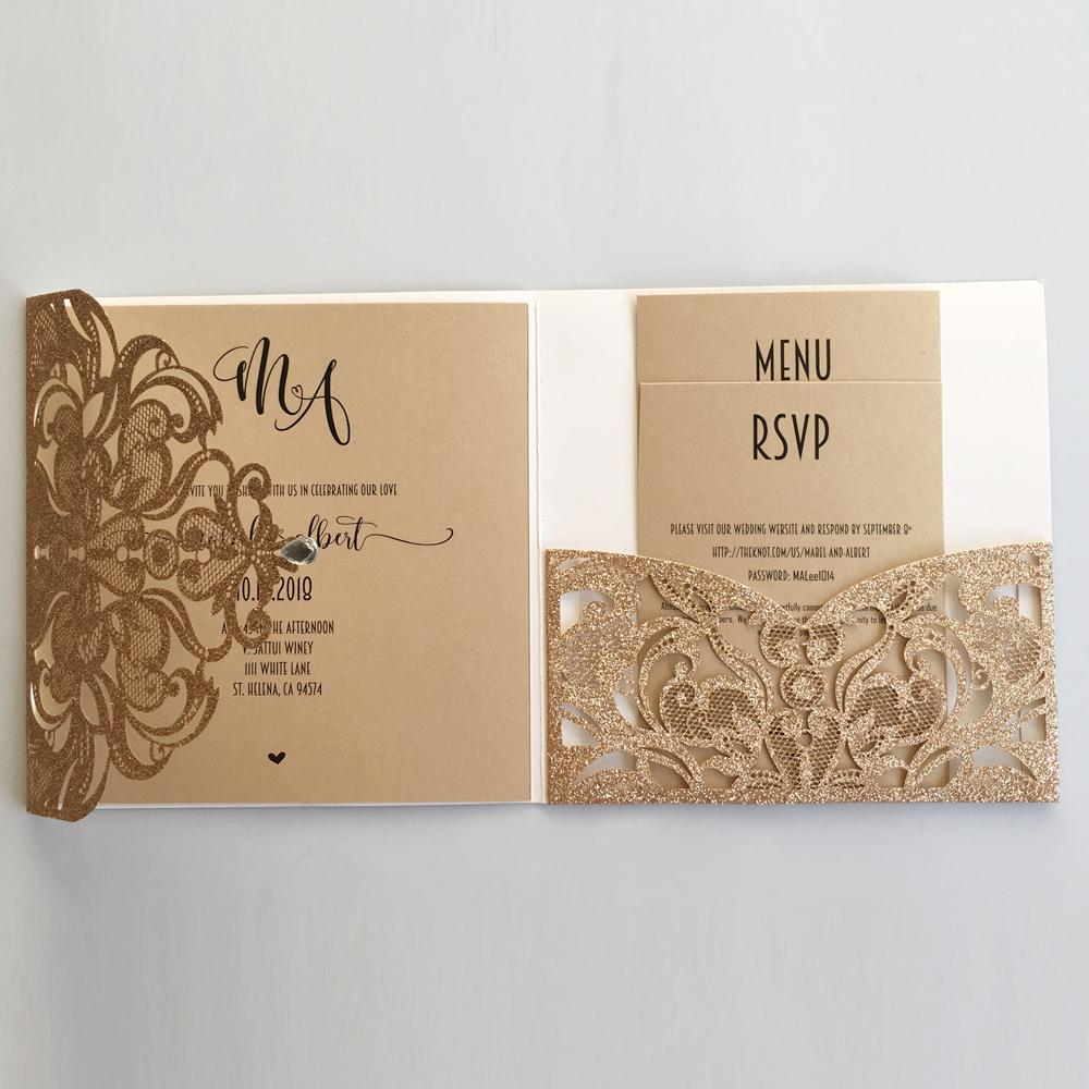 Gold Glitter Laser Cut Wedding Invites with RSVP Cards Luxury Wedding Cards  | Picky Bride