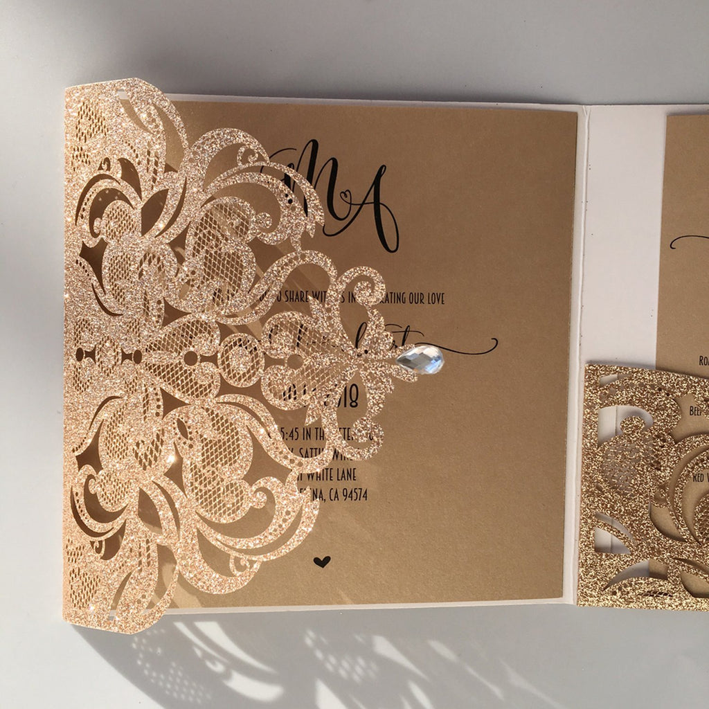 Gold Glitter Laser Cut Wedding Invites with RSVP Cards Luxury Wedding Cards Picky Bride