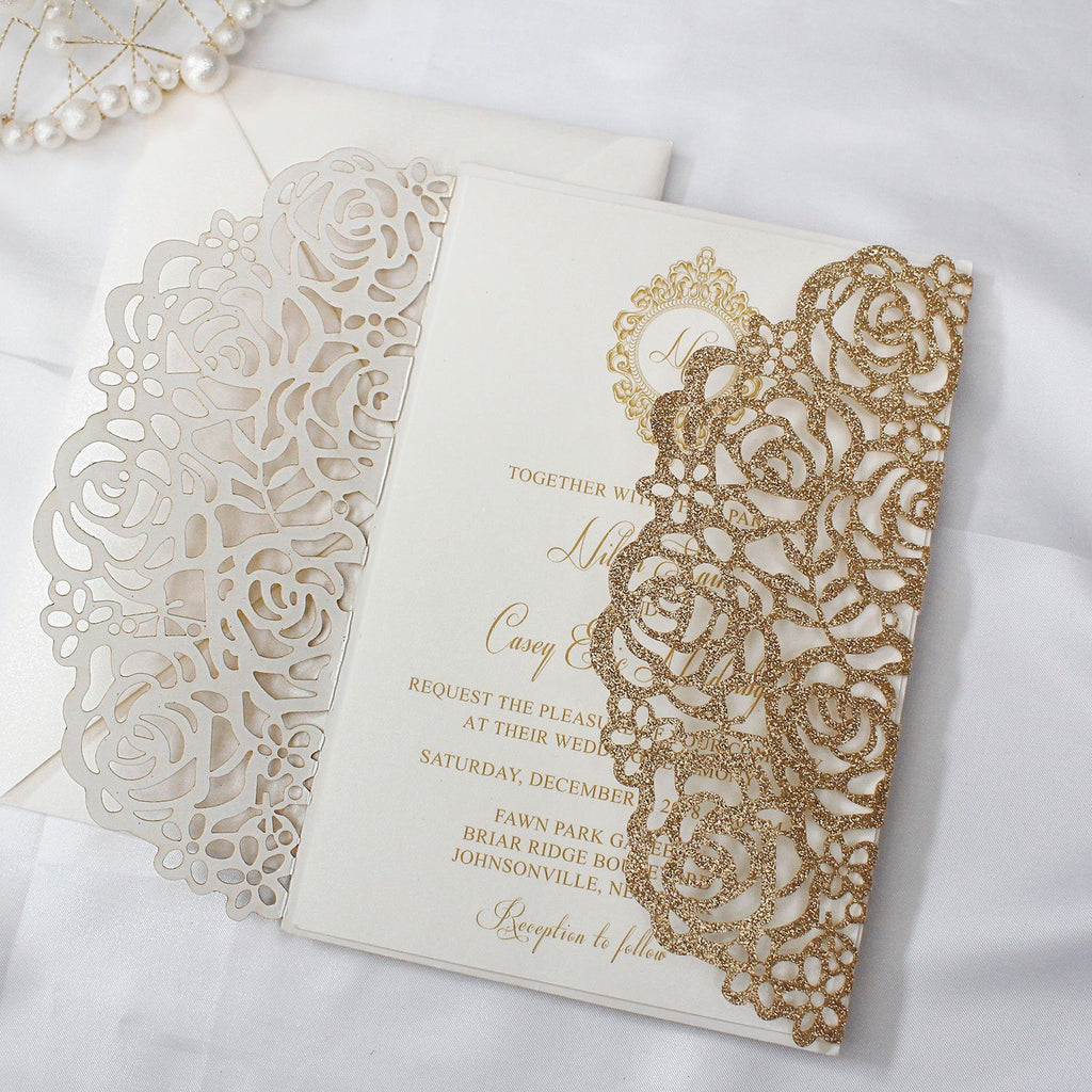 Gold Glitter Rose Wedding Invitation Picky Bride