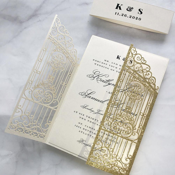Gold Glitter Wedding Invitation Laser Cutting Invitations Gate Wedding Cards Picky Bride