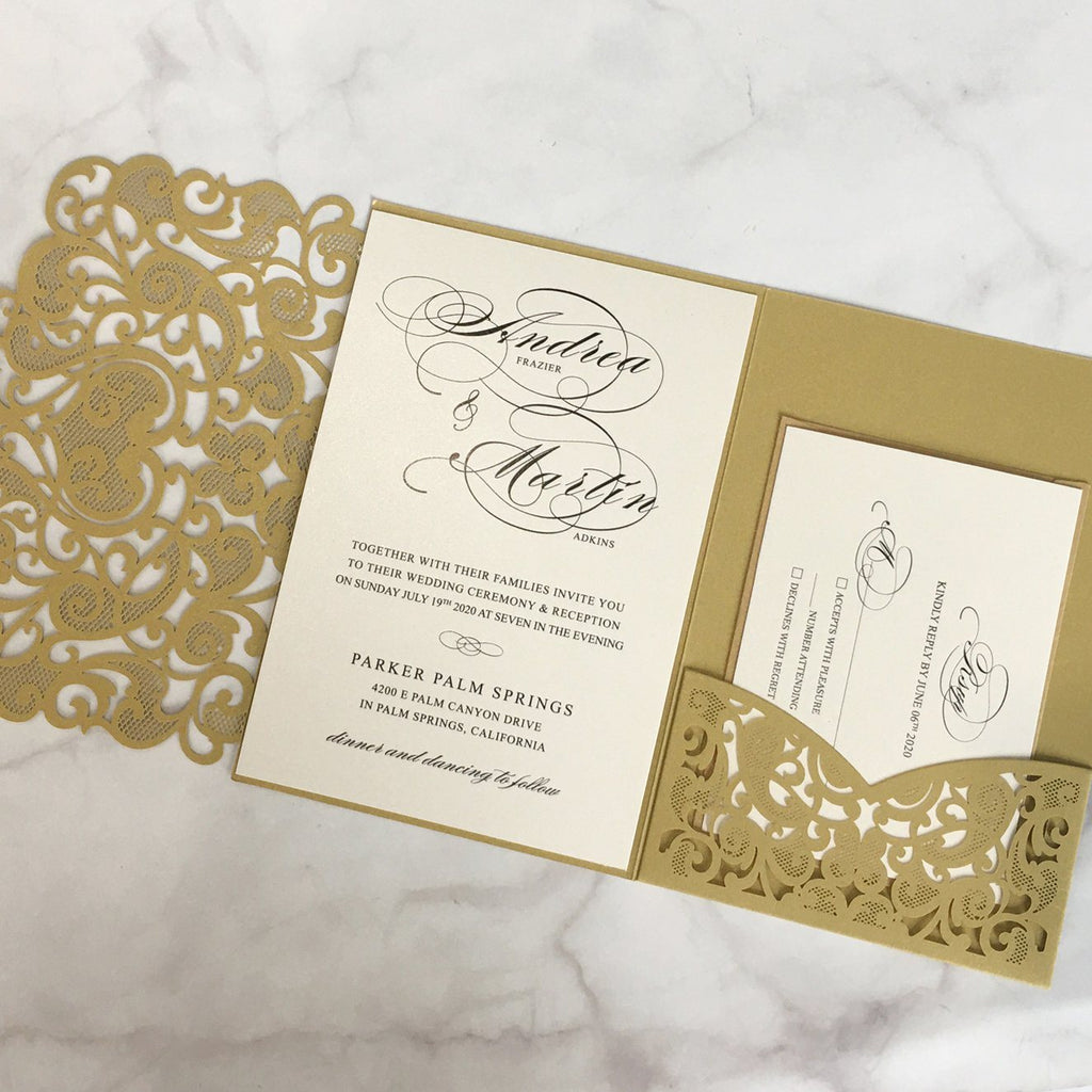 Gold Pocket Wedding Invitations Luxury Laser Cut Invitation Wedding Cards With RSVP Cards Picky Bride