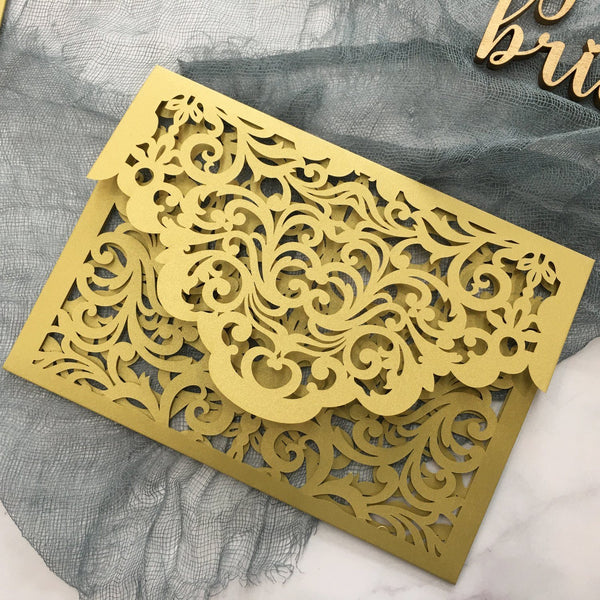 Gold Pocket Wedding Invitations Suite Elegant Laser Cut Invitation Wedding Cards Picky Bride