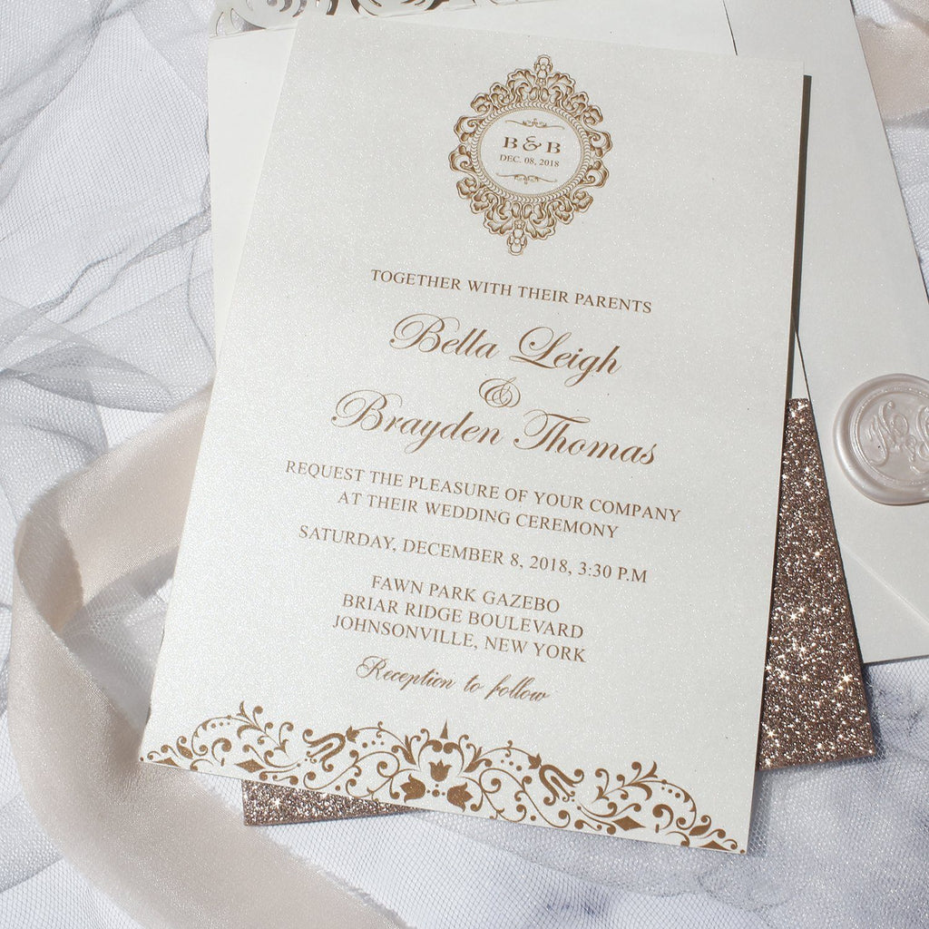 Gold Rose Wedding Invitations, Lace Wedding Invitation Card Picky Bride
