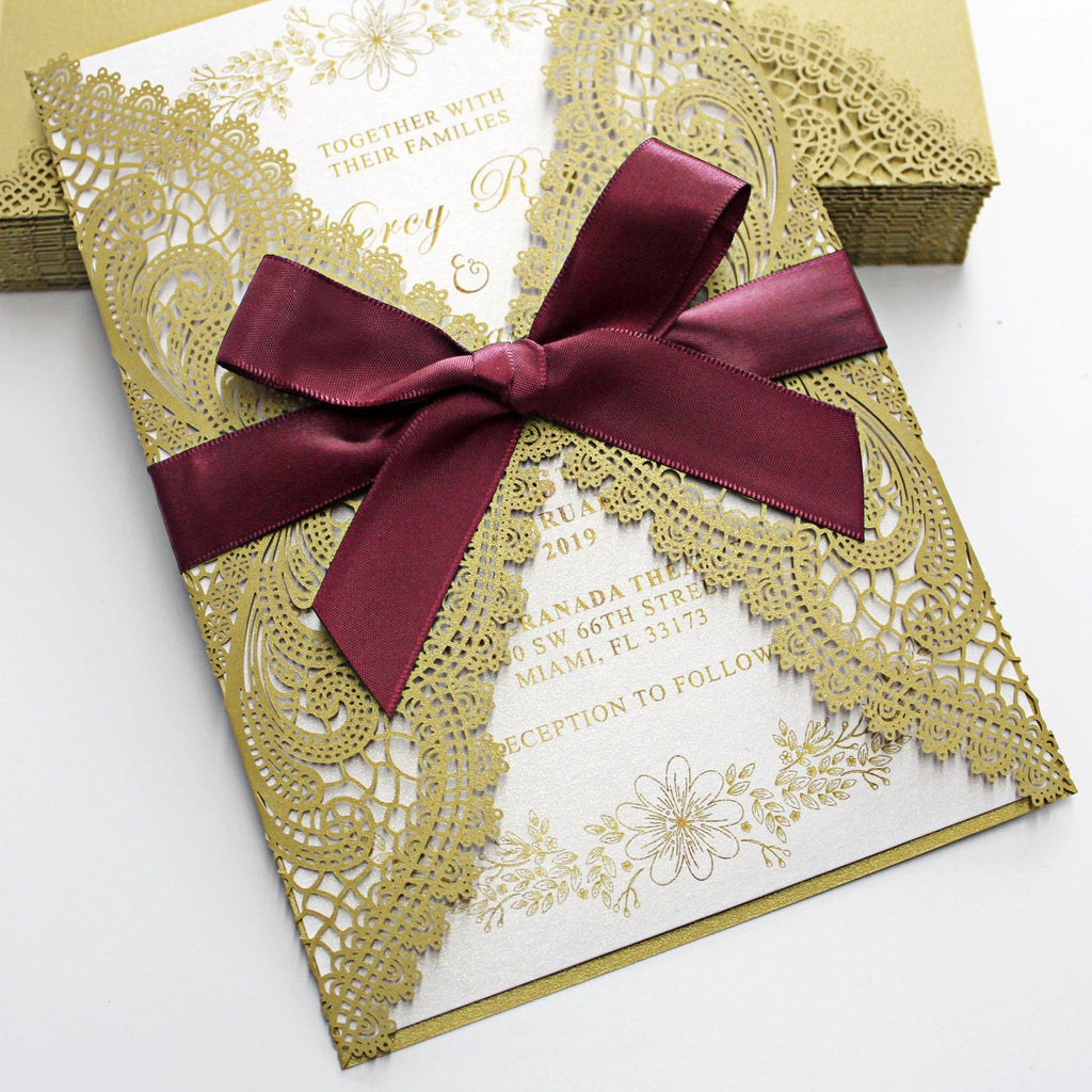Golden Lace Wedding Invitation Cards with Burgundy Ribbon Bow and RSVP Cards Picky Bride
