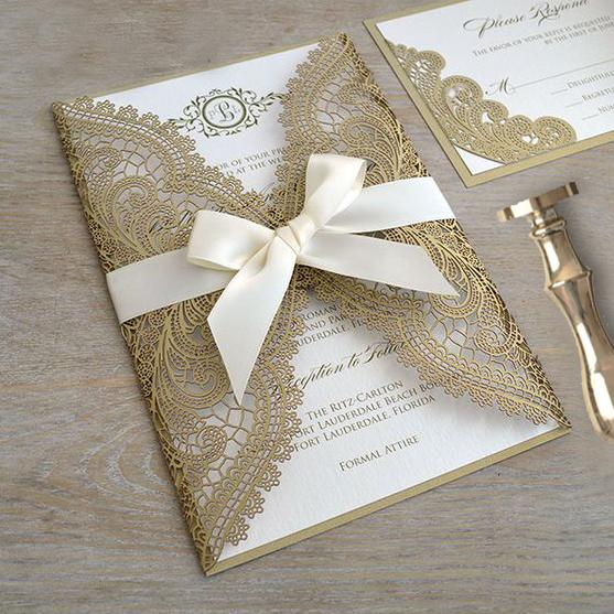 Golden Wedding Invitations Cards with RSVP Cards, Elegant Lace Invitation Cards Picky Bride