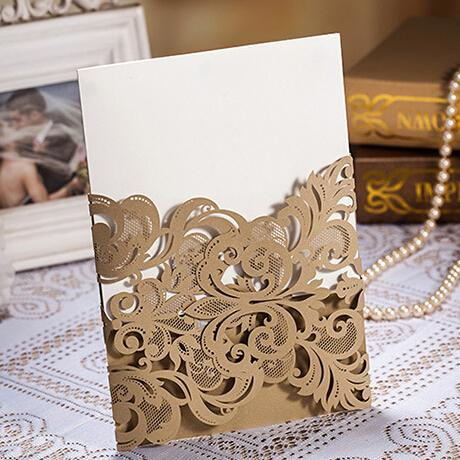 Golden Wedding Invitations with Envelopes and Seals - Set of 50 Picky Bride