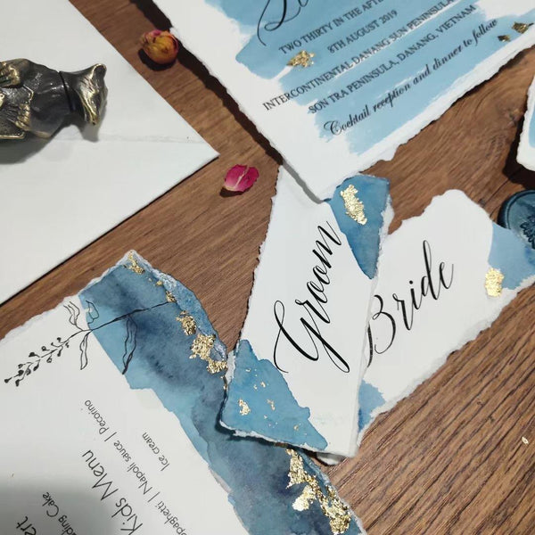 Handmade Deckle-edge Invitation Cards with Vellum Paper Wrap for Wedding / Birthday Picky Bride