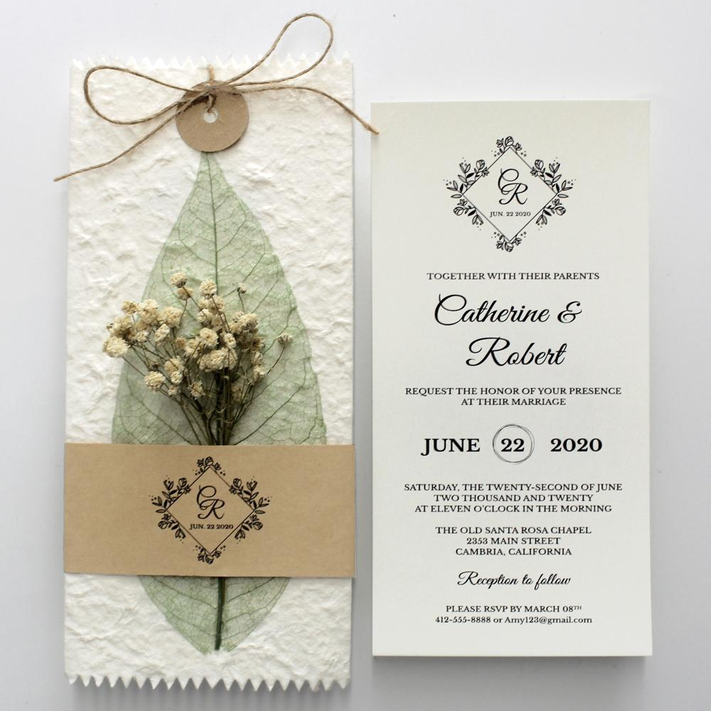 Handmade Green Leaf Wedding Invitations Personalized with Babysbreath Flower Picky Bride