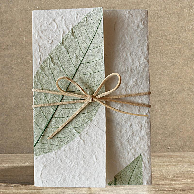 Handmade Wedding Invitations Off White Green Leaf Design Picky Bride