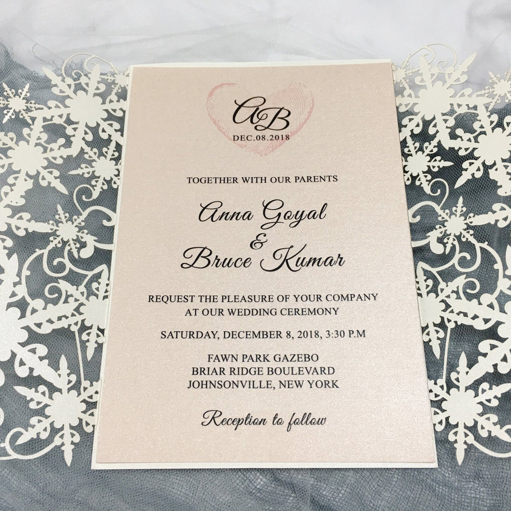 Ivory Lace Laser Cut Wedding Invitations with Blush Pink Shimmer Insert Picky Bride