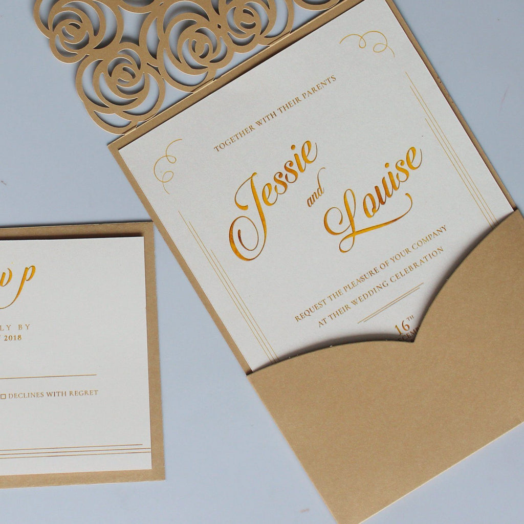 Lace Pocket Wedding Invitation Gold Rose Wedding Invites Picky Bride