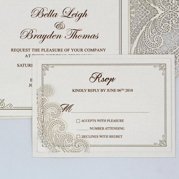 Lace Wedding Invitation, Pocket Wedding Invitation Picky Bride