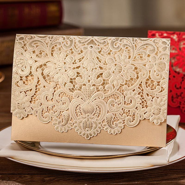 Lace Wedding Invitation, Pocket Wedding Invitation - Set of 50 Picky Bride Blank Gold