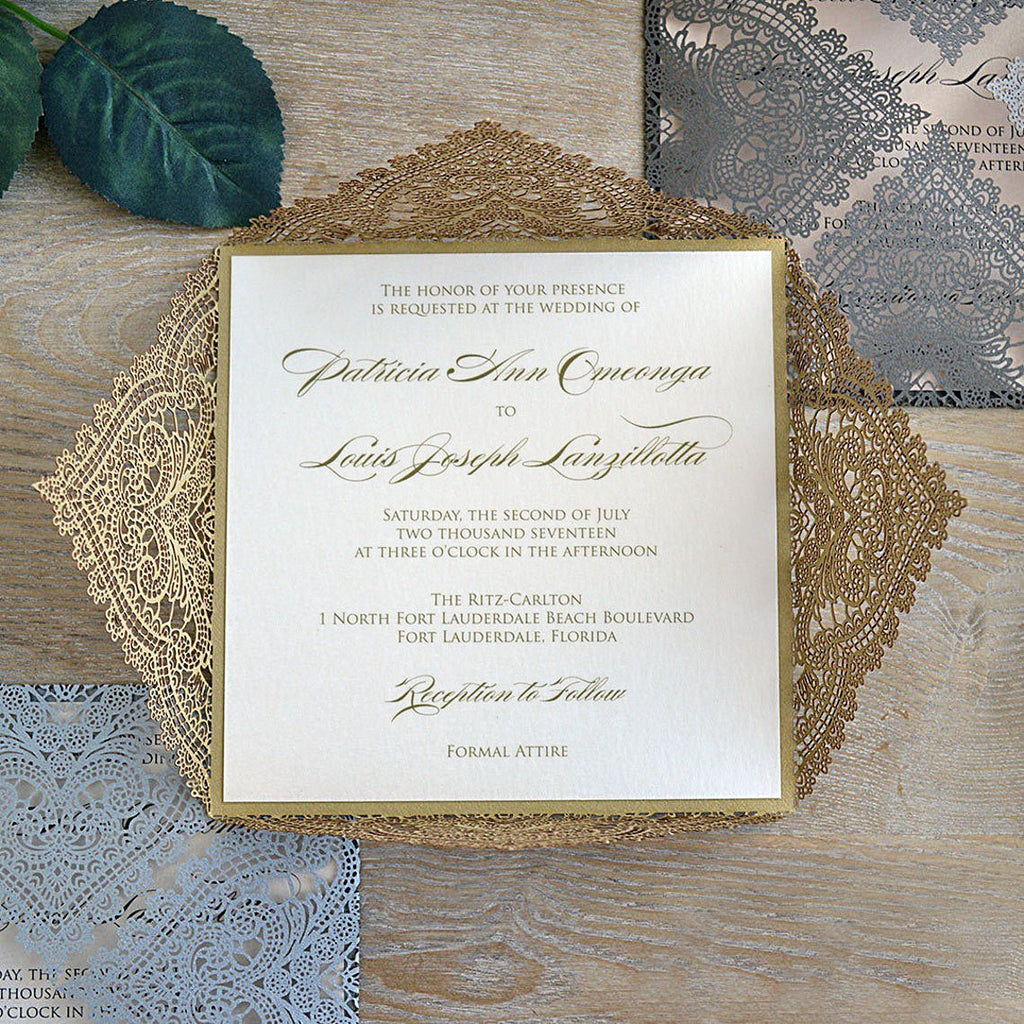Laser Cut Gold Wedding Invitations Calligraphy Invitation Cards Personalized with your Invite Wording Picky Bride