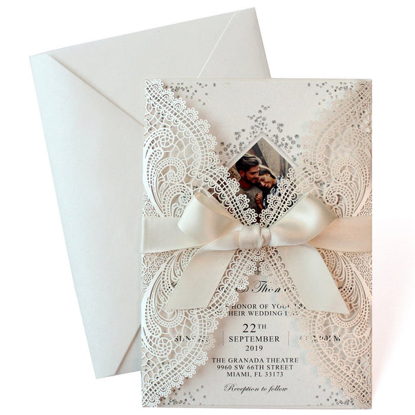Laser Cut Ivory Wedding Invite Invitation Cards With Envelopes PB2001-IV Picky Bride