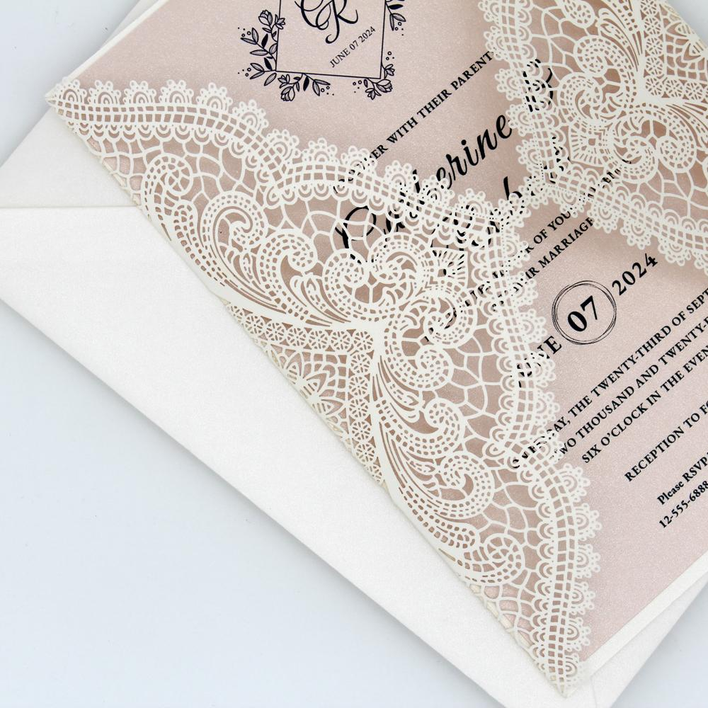 Laser Cut Lace Wedding Invitations with RSVP Cards, Elegant Wedding Invites - Picky Bride Picky Bride