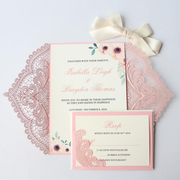 Laser Cut Pink Wedding Invitations, Romantic Wedding Invites PB1990 Picky Bride