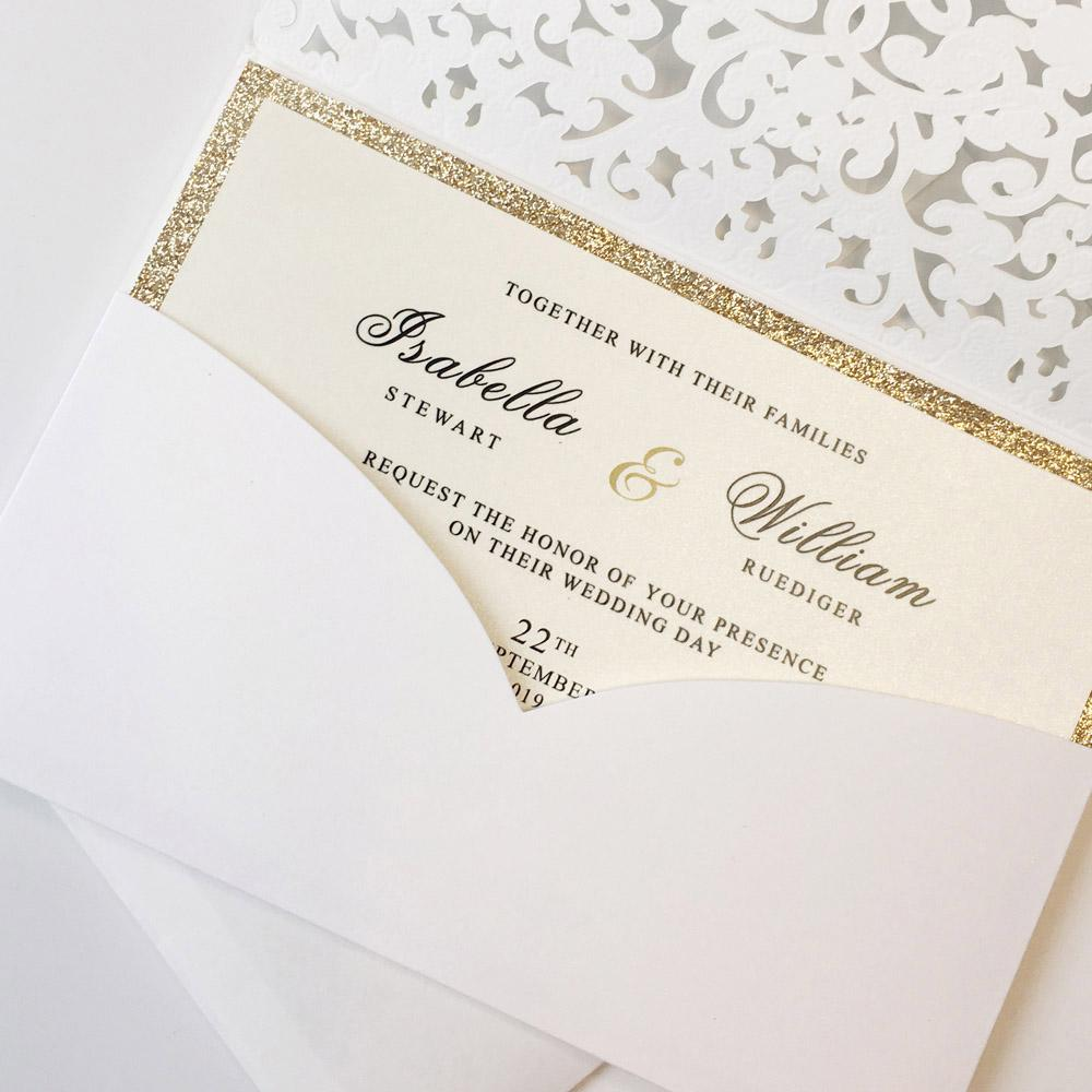 Laser Cut Pocket Wedding Invitations, Gold Glitter Wedding Invitations Picky Bride