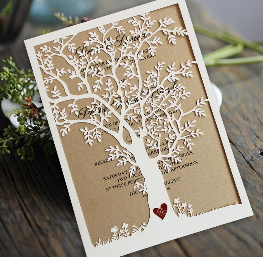 Laser Cut Tree Wedding Invitations, Fall Wedding Invitation Cards, Tree Wedding Invite, Rustic Wedding Invitations Picky Bride