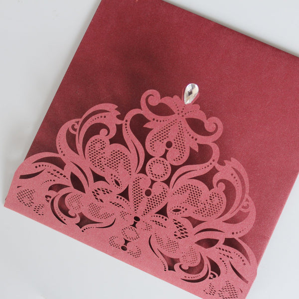 Laser Cut Wedding Invitation Cards With RSVP Cards Burgundy Invitations 15x15cm Picky Bride