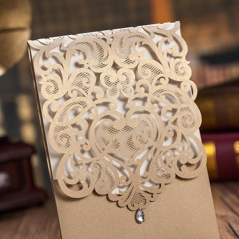 Laser Cut Wedding Invitations Elegant Invitations With Envelope - Set of 50pcs Picky Bride