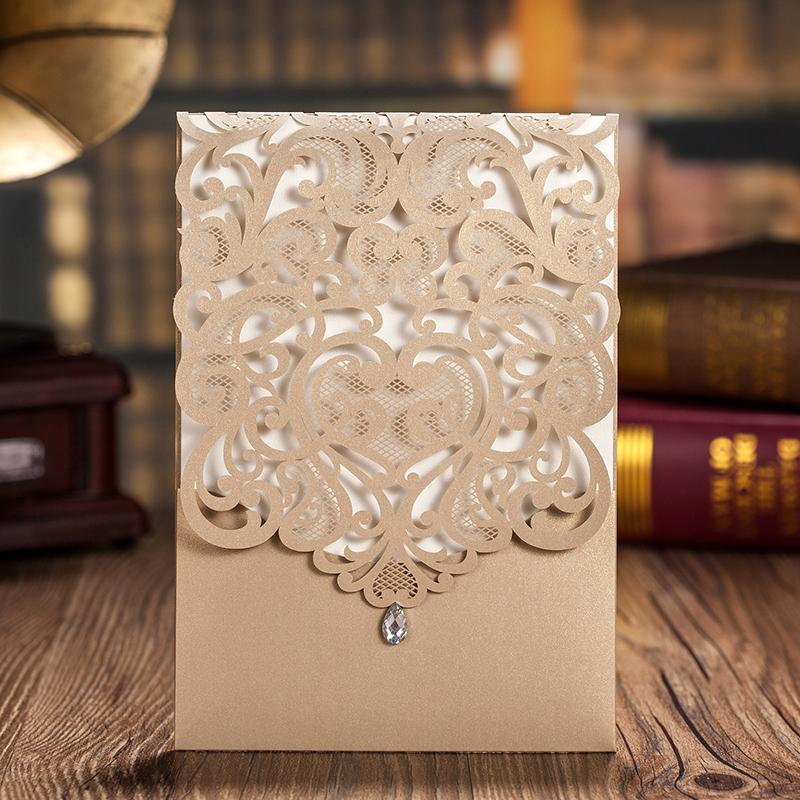 Laser Cut Wedding Invitations Elegant Invitations With Envelope - Set of 50pcs Picky Bride Blank Gold