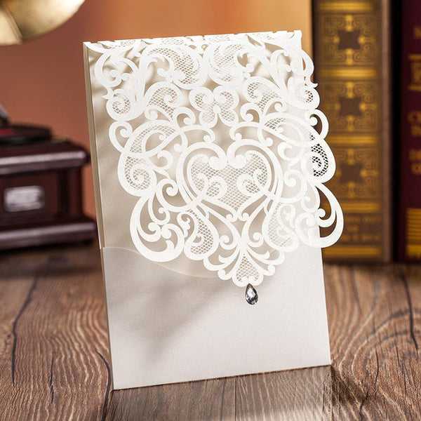 Laser Cut Wedding Invitations Elegant Invitations With Envelope - Set of 50pcs Picky Bride Blank White