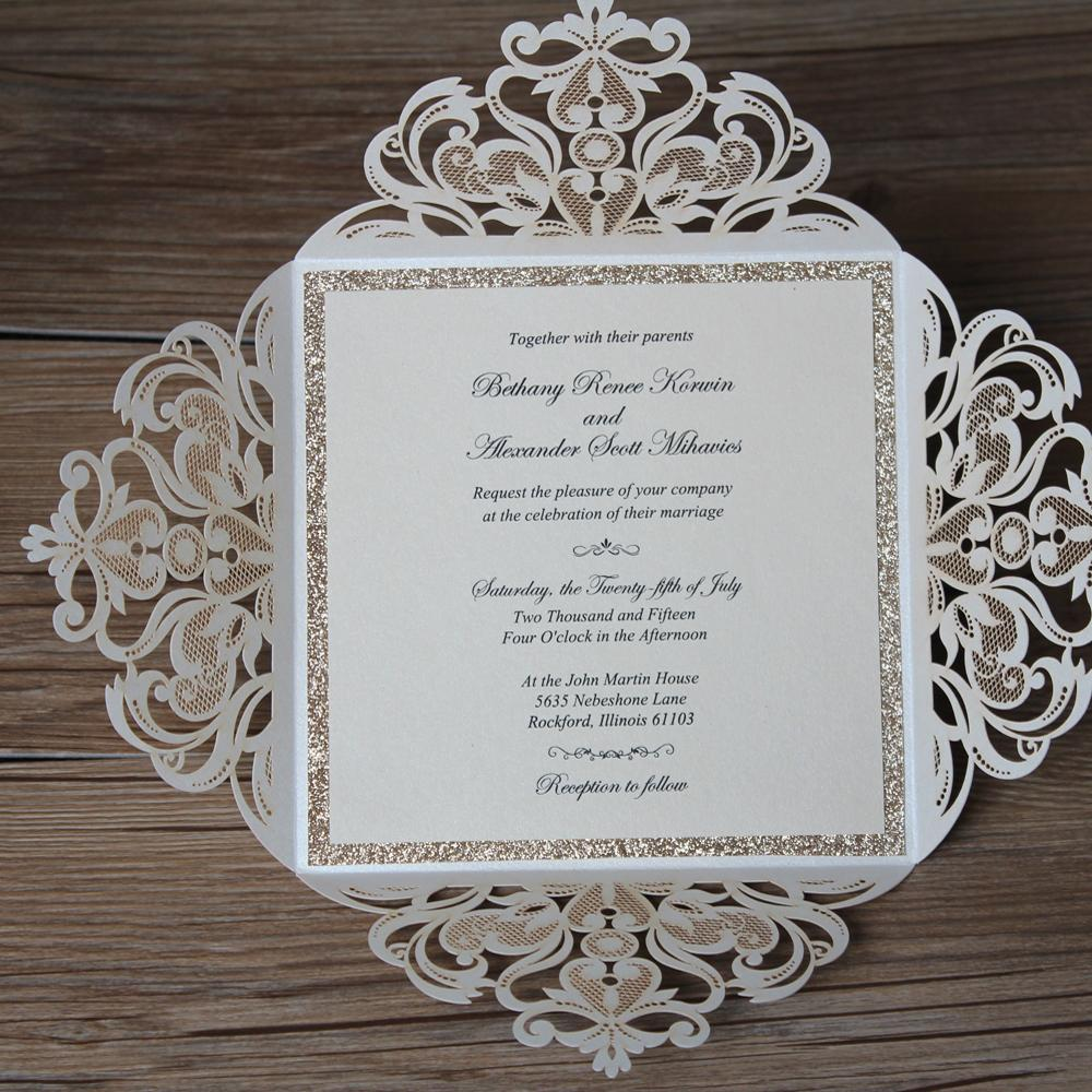 Laser Cut Wedding Invitations Gold Glitter Invitation with Belly Band 15 x 15 cm Picky Bride