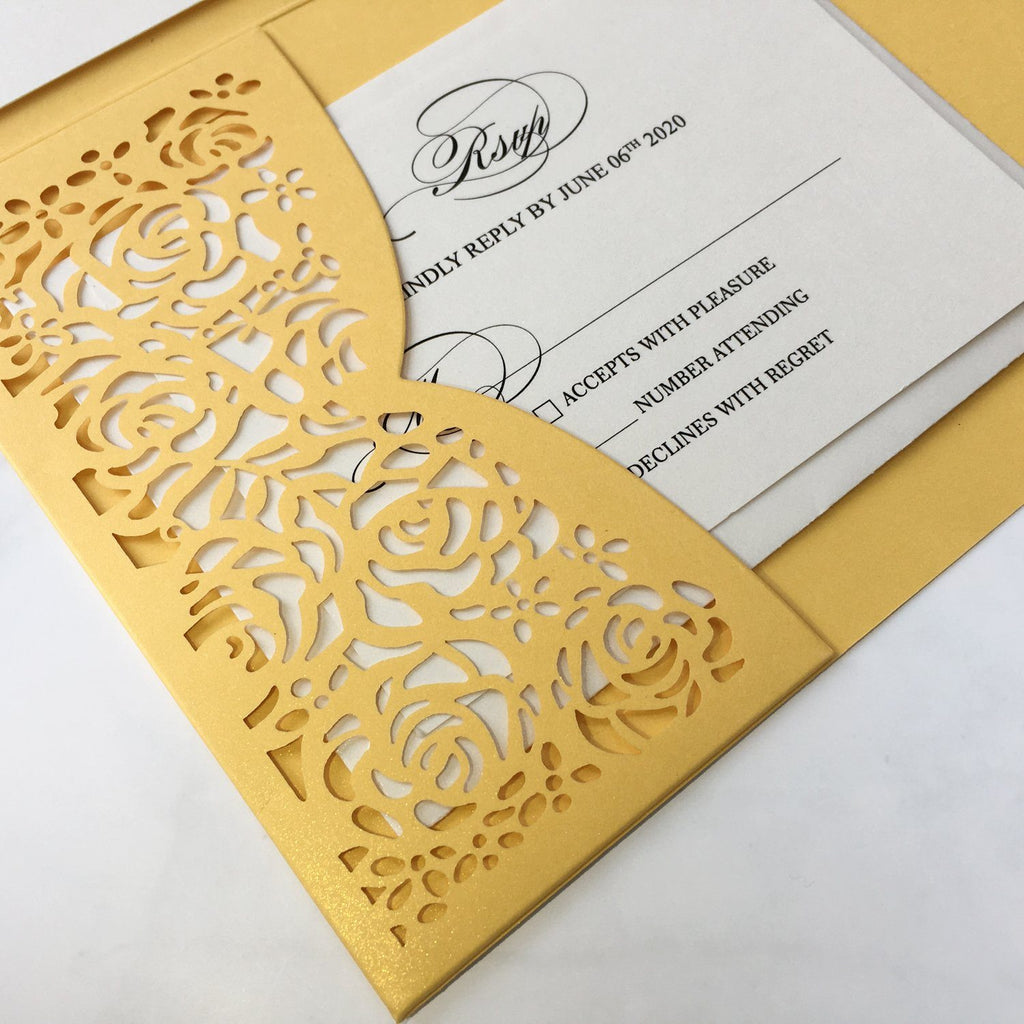 Laser Cut Wedding Invitations Yellow Gold Invitations With RSVP Cards Picky Bride