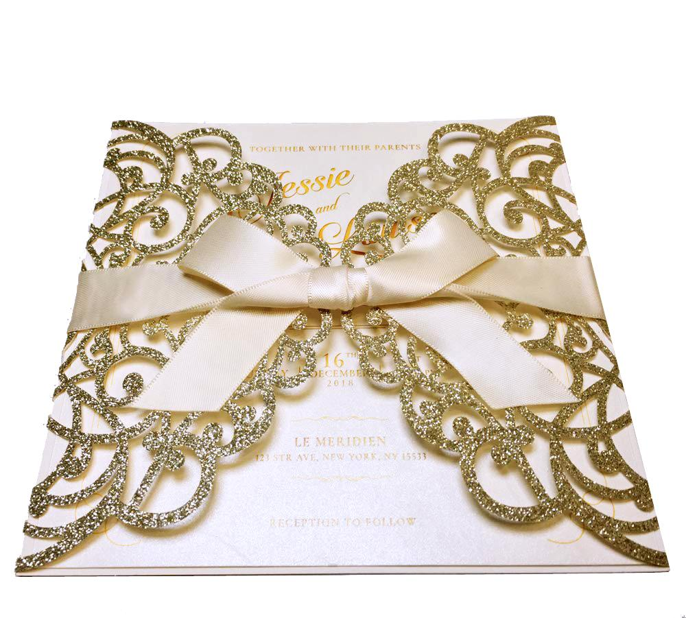 Laser Cut Wedding Invite Invitation Cards With Envelopes, Gold Glitter Wedding Cards Picky Bride