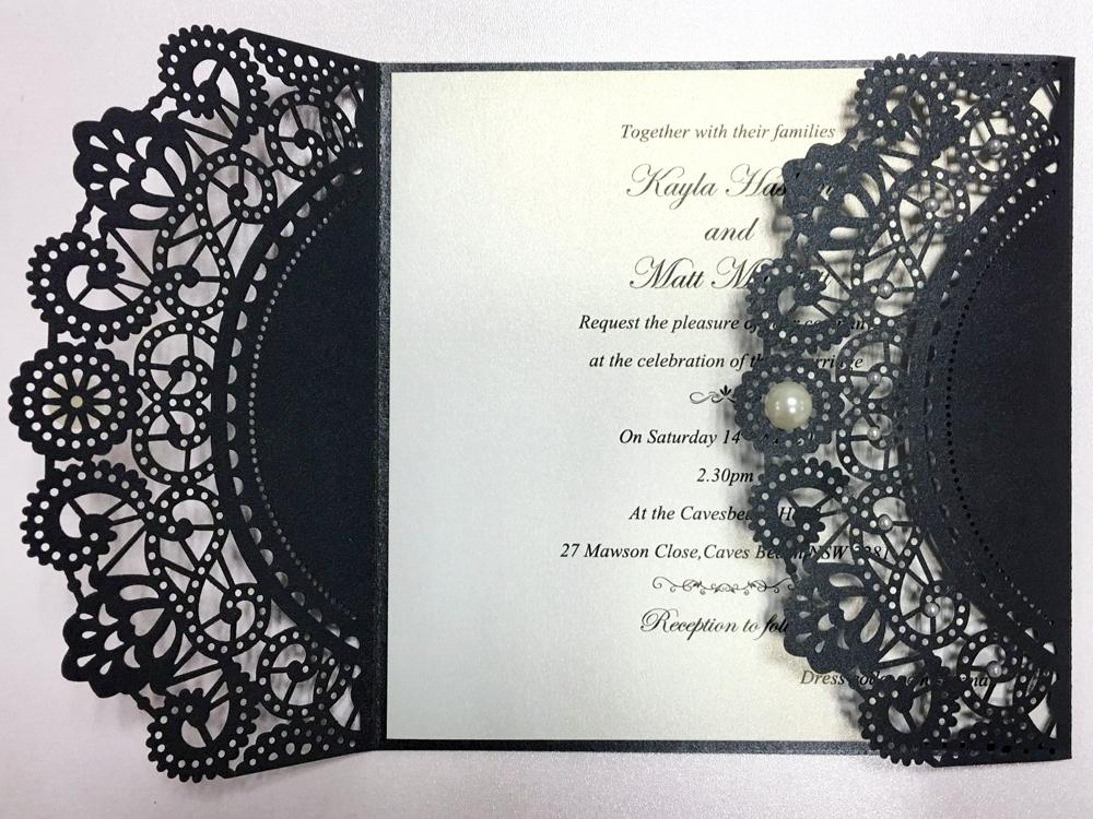 Laser Cutting Invitations Black Pearls Wedding Invitations With Customized Wording Picky Bride