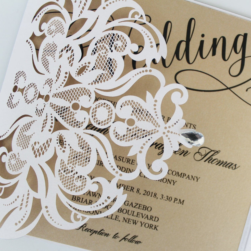 Laser Cutting Invitations, White Customized Invites Cards with RSVP Cards Picky Bride