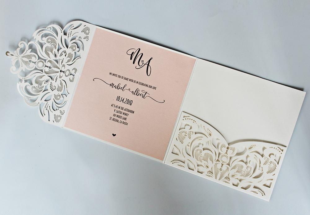 Laser Cutting Wedding Invitation with RSVP Ivory and Pale Pink Bridal Shower Invitation Cards Picky Bride