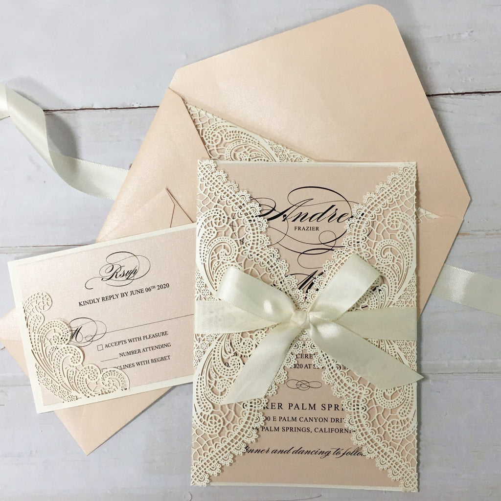 Laser Cutting Wedding Invitations with RSVP Cards, Blush Pink Shimmer Invitation Cards Picky Bride