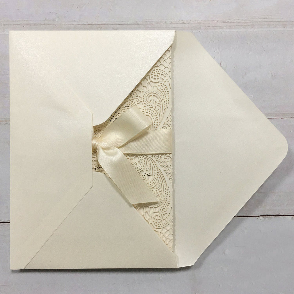 Laser Cutting Wedding Invitations with RSVP Cards Ivory Invitation Cards Picky Bride