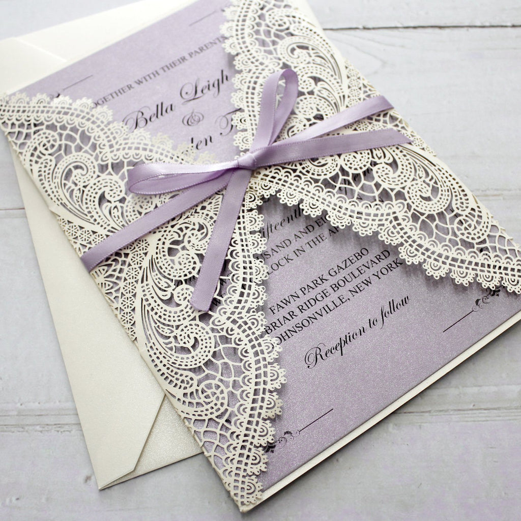 Lavender Purple Wedding Invitations with RSVP Cards Picky Bride