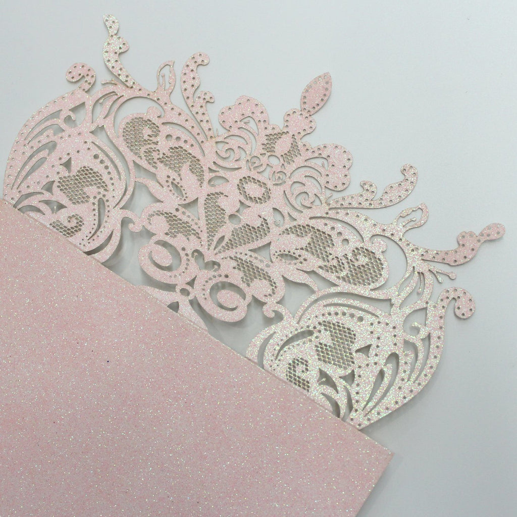 Luxurious Glitter Pink Wedding Invitations, Romantic Invitations Customized Wording Picky Bride