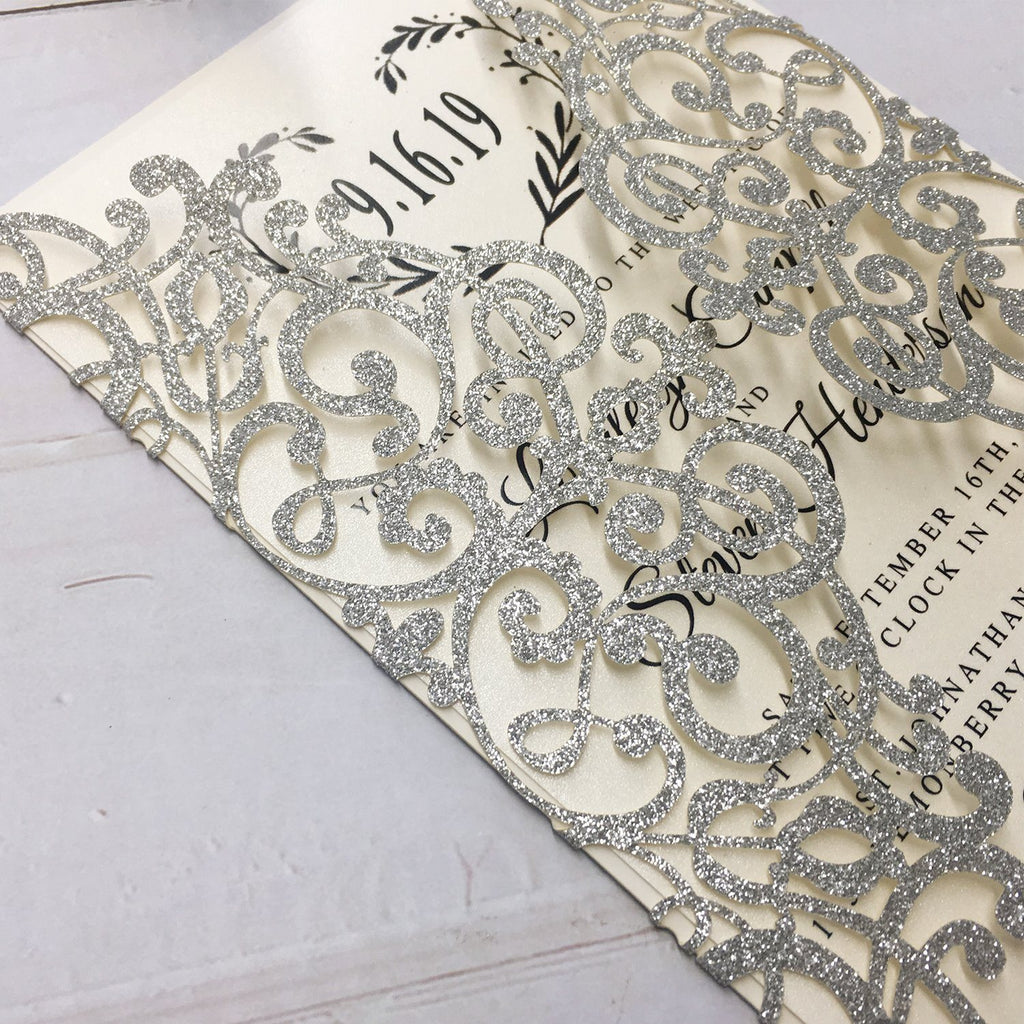 Luxury Glitter Silver Wedding Invitations, Grey Invitation Cards for Wedding Picky Bride