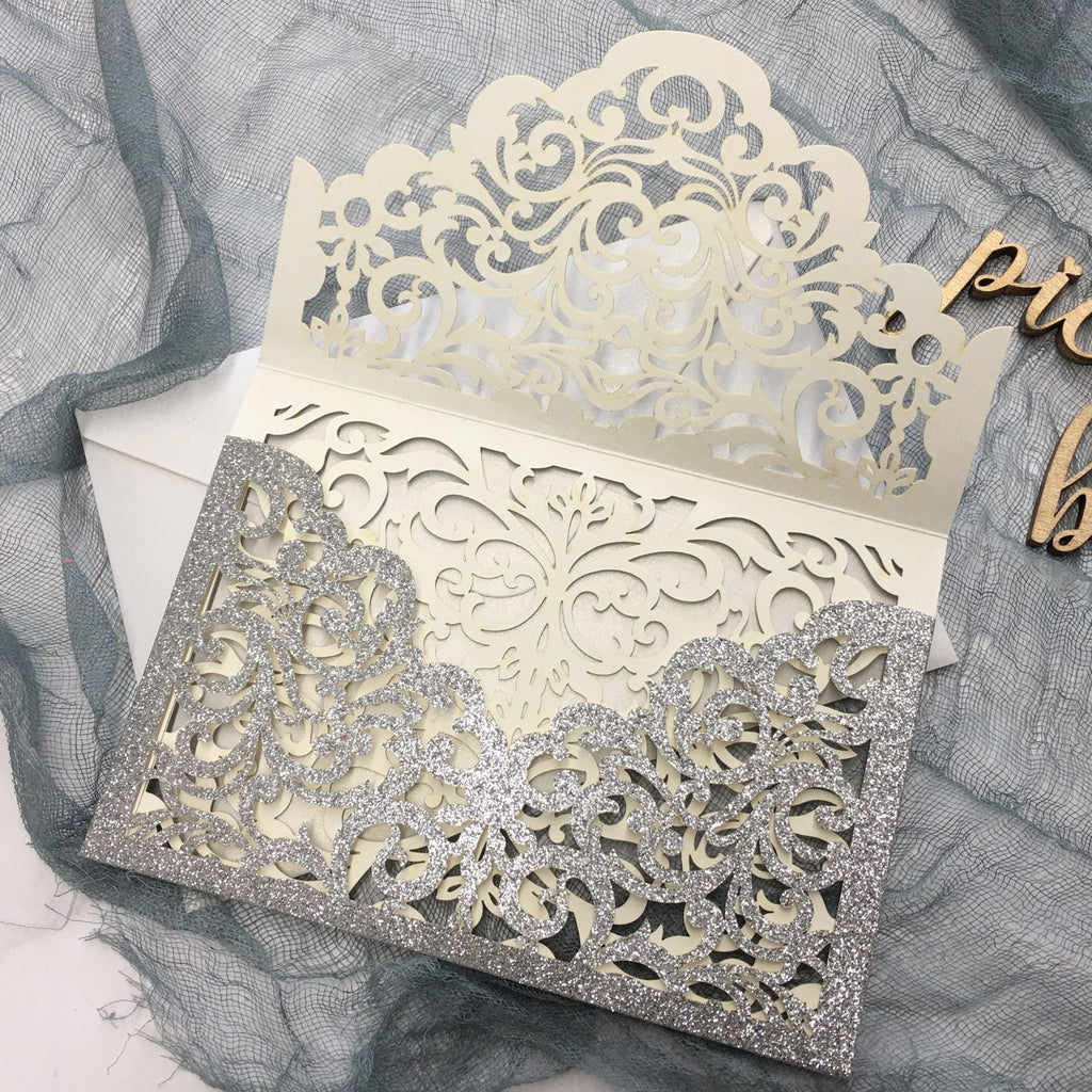 Luxury Glitter Silver Wedding Invitations, Grey Pocket Invitation Cards With RSVP Cards Picky Bride