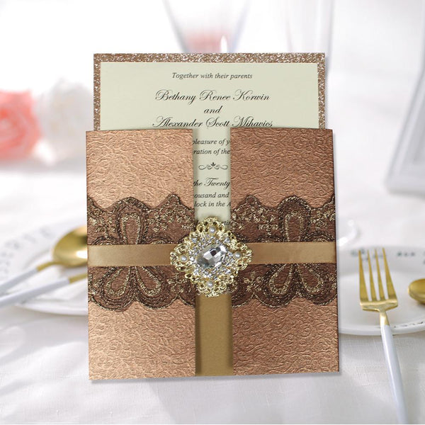 Luxury Golden Invitations Pearl and Diamante Wedding Invite Picky Bride