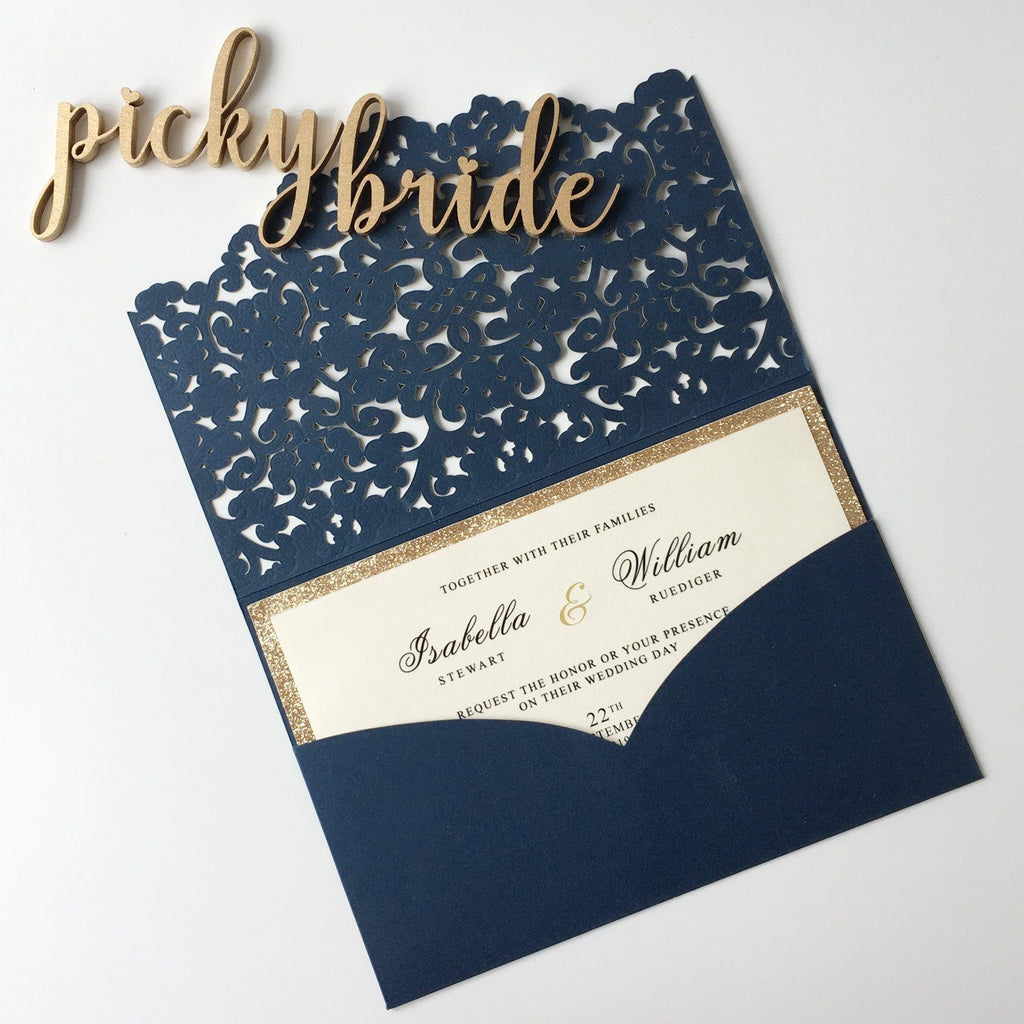 Luxury Navy Wedding Invitation Cards Pocket Design PB1988-N Picky Bride