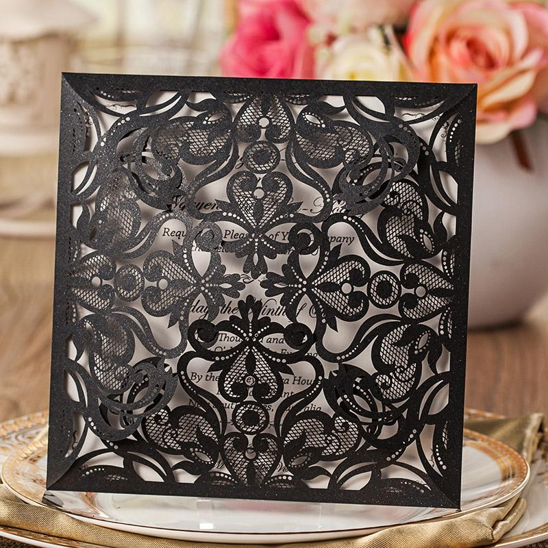 Luxury Wedding Invitation Bridal Shower Invitation Cards - Set of 50 pcs Picky Bride Blank Black