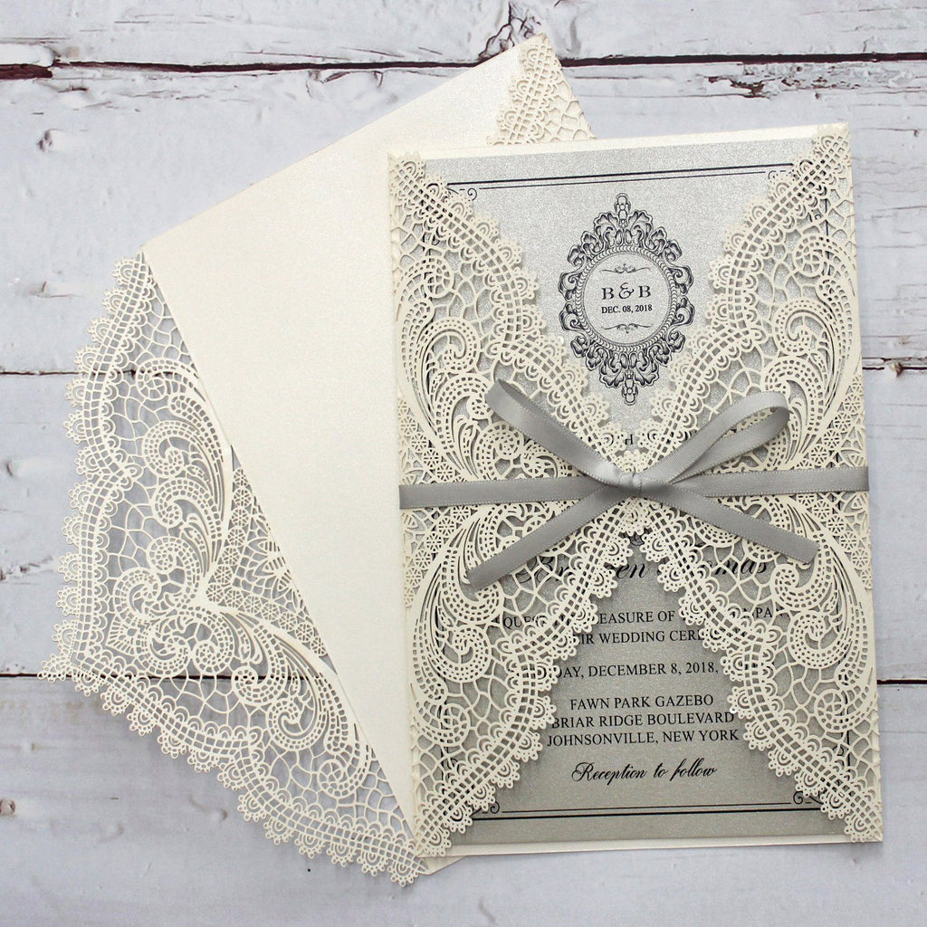 Metallic Silver Wedding Invitation with Ribbon Bow and Envelopes Picky Bride