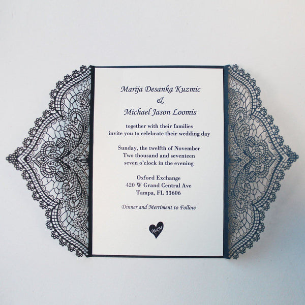 Navy Blue Gate Wedding Invitation Cards Picky Bride