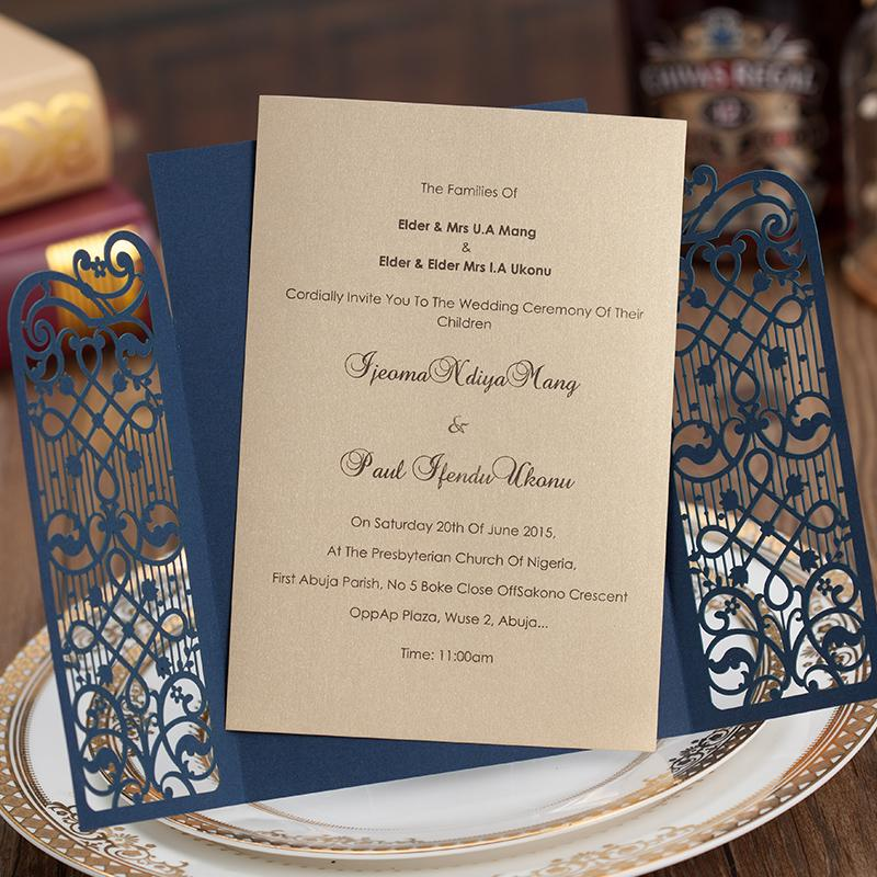 Navy Blue Gate Wedding Invitations Cheap Wedding Invitation Cards - Set of 50pcs Picky Bride