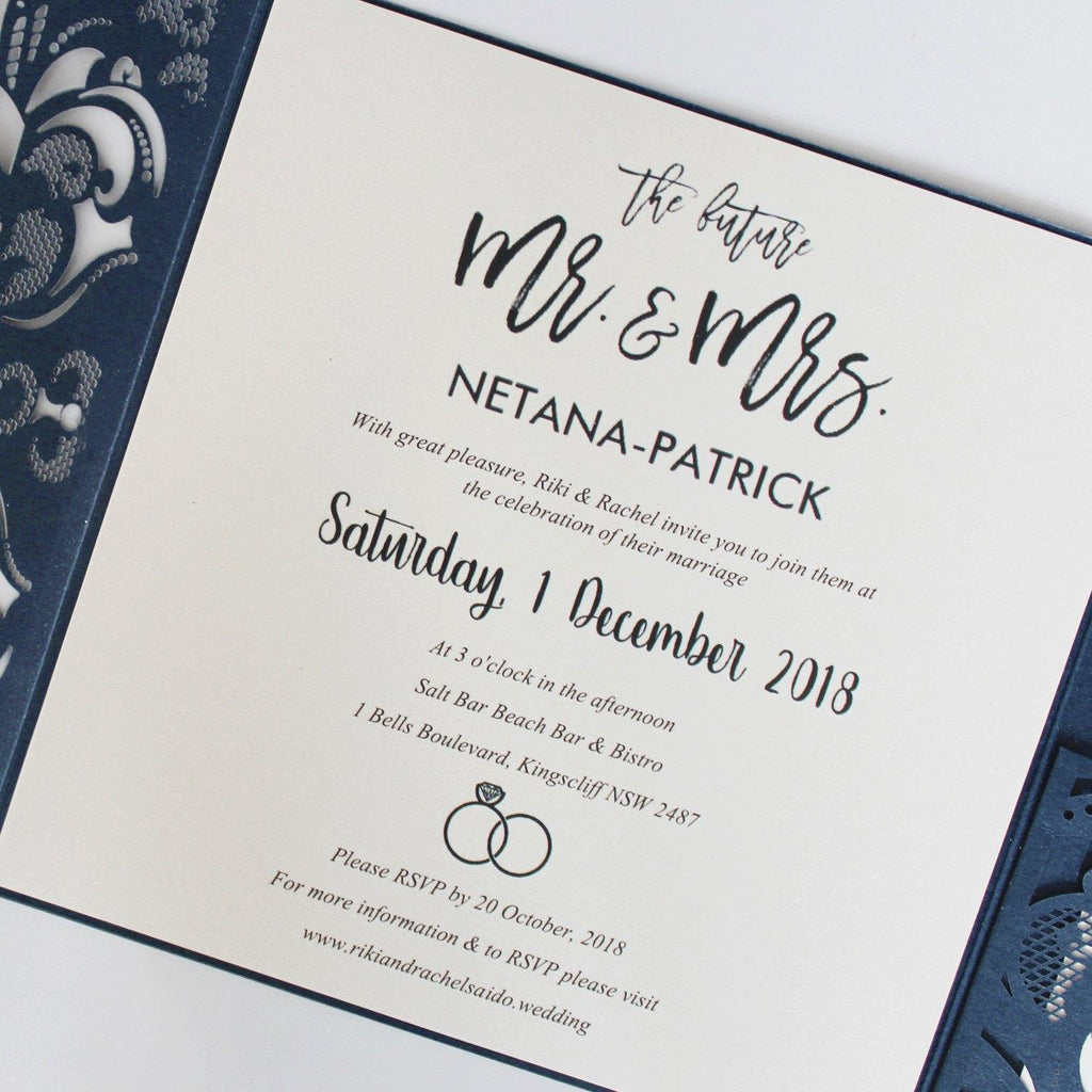 Navy Blue Wedding Invitation Pocket Invite Cards With RSVP Cards Picky Bride